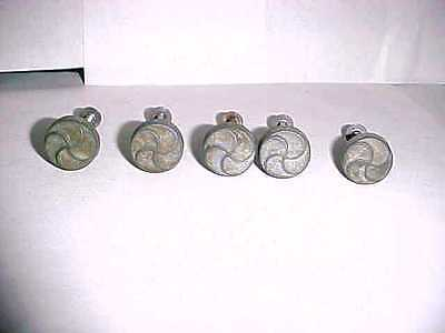 Lot of 5 Small Vintage Round Brass Drawer Cabinet Knobs Pulls