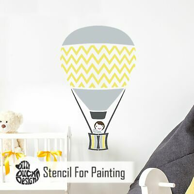 CHEVRON HOT AIR BALLOON Nursery - Furniture Wall Floor Stencil for Painting