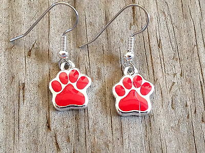 Small Red Dog Cat Tiger Paw Print Imitation Rhodium Plated Enameled Earrings