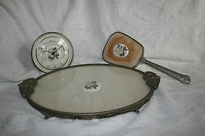 Vintage Dressing Table Set with Glass-Topped Tray, Hand mirror and Clock