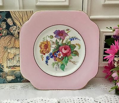 COLCLOUGH BONE CHINA 1940s TEA PLATE HARLEQUIN FLORAL CENTRE PINK BORDER GILDED