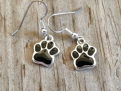 Small Black Dog Cat Tiger Paw Print Imitation Rhodium Plated Enameled Earrings