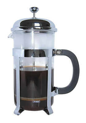 Grunwerg Cafe Ole Coffee Tea Maker Glass Cafetiere French Press - Chrome - 3 Cup