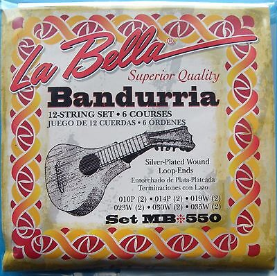 LOT CORDES pour BANDURRIA plaqué argent Wound 12 cordes La Bella Loop End TOP