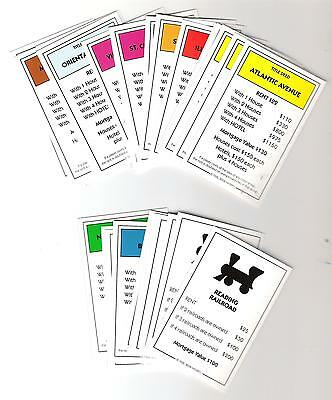 Monopoly Game Pieces - replacement property cards -standard ed