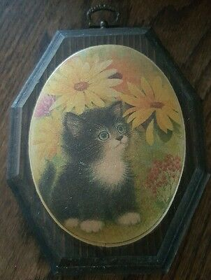Vintage Kitten In the Flowers Beaded Glass Wooden Plaque 1971