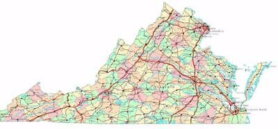 VIRGINIA STATE ROAD MAP GLOSSY POSTER PICTURE PHOTO city county Richmond va  2482