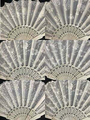 12 PC Elegant White Silver wedding Hand Fan Wedding& Party Favors Bridal Fans