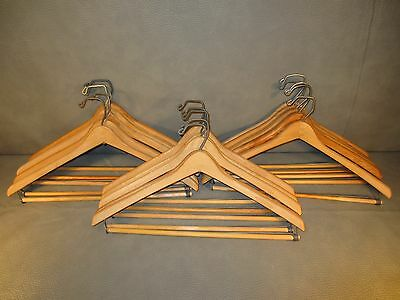 Collection of 15 Wooden Vintage Suit or Coat Hangers