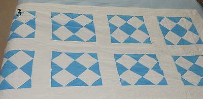 Vintage Hand Made Cotton Quilt  Blue / White