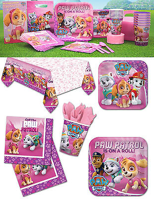 Pink Paw Patrol Girls Birthday Party Tableware Supplies Decorations Parties Sets