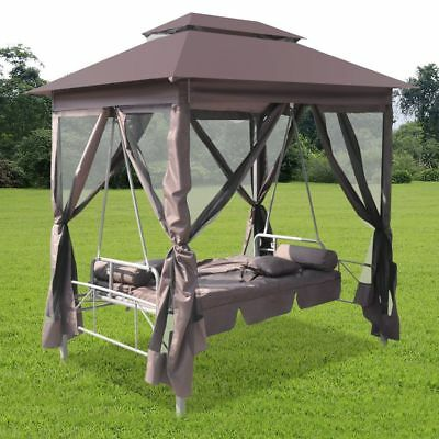 Patio Outdoor Gazebo Swing Canopy Hammock Seat Sunbed Sofa Curtains Coffee Brown