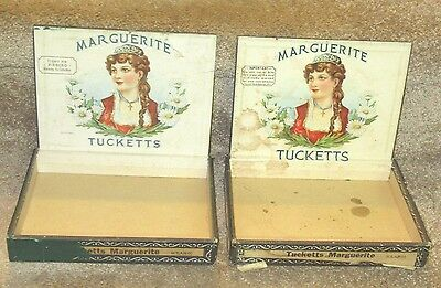 Lot of 2 Vintage Cigar Boxes Tuckett's Marguerite - Great graphics!