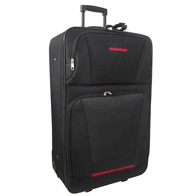 5-Piece Luggage Travel Set Expandable Trolley Suitcases Duffel Bag Black/Red