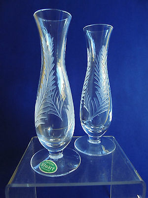 Vintage English Stuart Crystal Pair Vases Ellesmere Fern