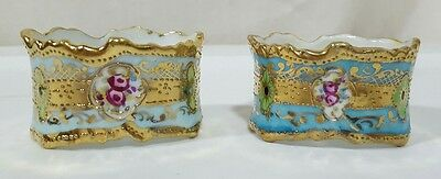 Antique Hand Painted PORCELAIN NAPKIN RING Blues Roses & Gold Beaded His & Hers