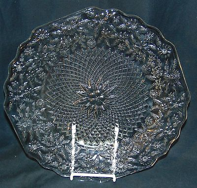 """Indiana PINEAPPLE & FLORAL CRYSTAL *11 1/2"""" SANDWICH PLATE*"""