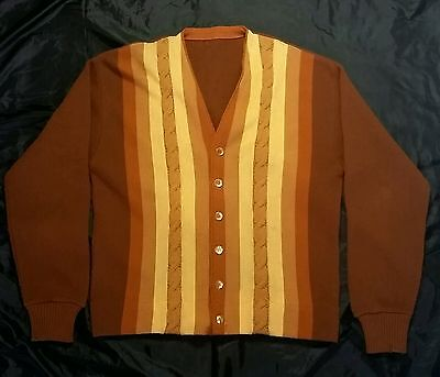 VTG  60's MOD BROWN + MUSTARD CABLE KNIT STRIPED FRONT PANEL CARDIGAN SWEATER