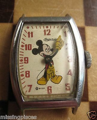 Early Vintage Ingersoll Mickey Mouse Wristwatch US Time - wound tight - repairs