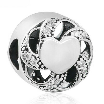 RIBBON Charm 925 Solid Sterling Silver Heart Pave Clear Stones Bead for Bracelet