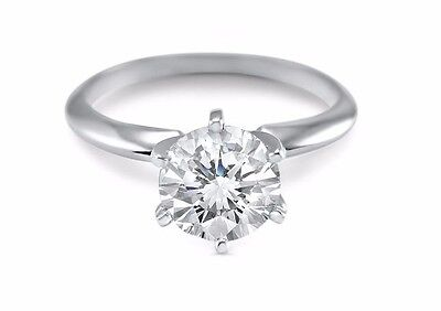 CZ Cubic Zirconia Solitaire engagement ring 1 Carat 14K White Gold 6 Prong