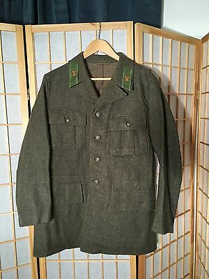 ELSON WWII Dated 1943 Swedish Home Guard Uniform Jacket Wool 3 Crowns Men's L