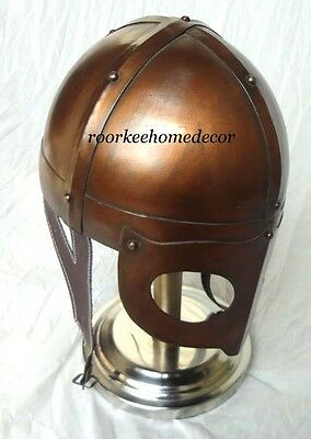 Antique Finish Medieval Armor Iron Helmet With Stand Collectible Replica Helmet