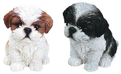 Sitting BLACK BROWN SHIH TZU PUPPIES 2 Realistic Life Like Dog Statues Figurines