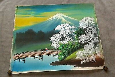 Vintage Japanese silk painting - signed - Mt. Fuji, bridge - vibrant colors EUC