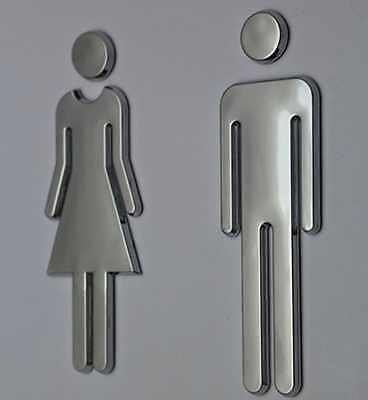 Restroom Wall Bathroom Sign Modern Adhesive Backed Men Women Toilet Acrylic New