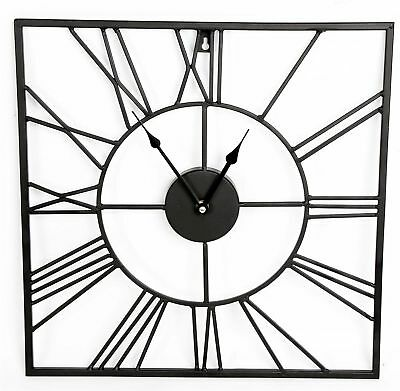 Roman Numeral Square Wall Clock Black Metal Cut Out Home Office Decor 60 & 80 cm