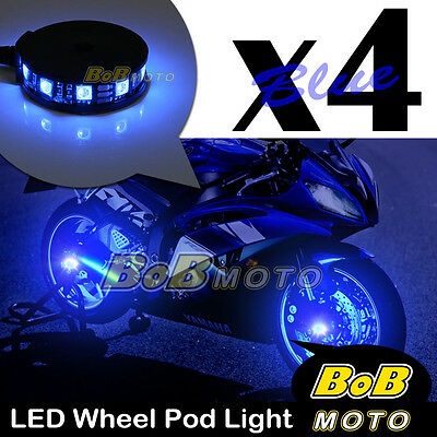 Blue Motorcycle 360 Cycle LED Wheel Light Custom Rim Glow Pod x4 For Kawsaki