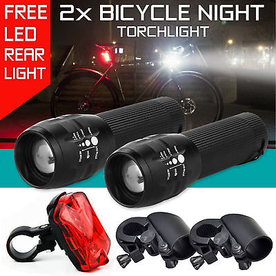 2 Q5 LED Mountain Bike Bicycle Cycling Zoomable Head Front Lamp Torch Light