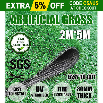 10SQM Synthetic Artificial Grass Plastic Plant Fake Lawn Flooring Durable 30mm