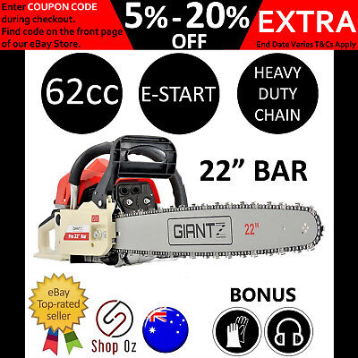 "New 62cc PETROL CHAINSAW CHAIN SAW 22"" Bar Commercial E-Start Power Pruning Tree"
