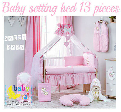 Pink Baby Bedding Set For Cot 120X60Cm! Pillow, Duvet, Cot Bumper, Canopy..offer