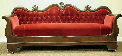 Antique Victorian Empire Serpentine Sofa