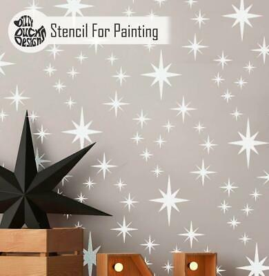 8-POINT STAR CLUSTER Repeat Nursery Childrens Room Wall Stencil for Paint