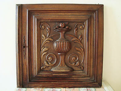 Superb French Antique Carved Architectural Panel Door Urn Fruits Acanthus Leaf
