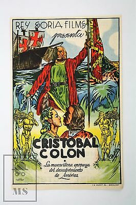 1946 Christopher Columbus by Rey Soria Films - Movie Advertising Leaflet
