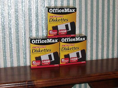 "Office Max IBM Formatted 1.44MB (3 Boxes of 10) 3.5"" Diskettes"