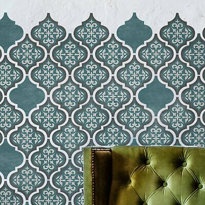 Furniture Wall Craft Floor TILE STENCIL - Moroccan TEMARA 3-LAYER Tile Stencil