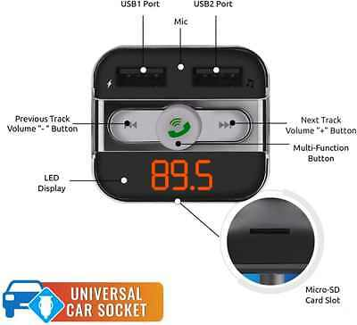 Promate Smartune Bluetooth FM Transmitter Car Kit Wireless Car Kit with USB 5V 3