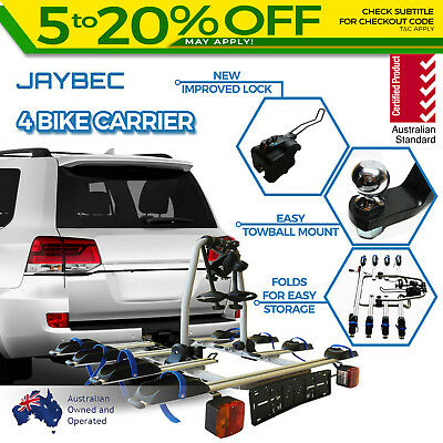 Car 4 Bike Rack Carrier Towbar For Ball Mount Tow Lockable Bicycle Holder Jaybec