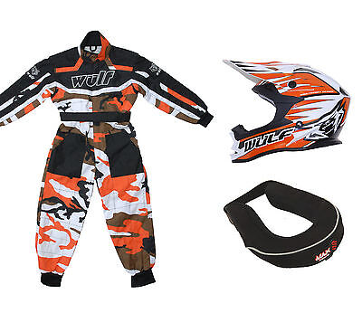 Kids Wulfsport MX Motocross Set Helmet Neck Brace Orange Camo Overall Kit #O5