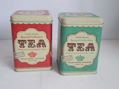 Tea Tin Storage Caddy Canister Brown Or Green