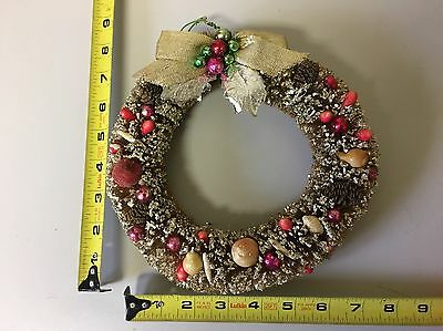 VTG small Christmas Wreath Brush Fruit Ornaments 1950s 1960s Japan