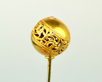Antique 14K Yellow Gold 3D 14 Mm Sphere Ball Stickpin With Filigree & Seed Pearl