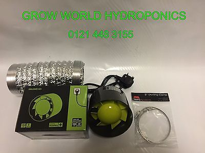 """5"""" Inch 125mm Inline Extractor Intake Grow Room Fan 3M Ducting & 2 Ducting Clips"""