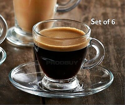 12x High Quality Clear Glass Coffee Tea Cup & Saucer Set with Gift Box